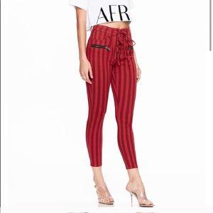 AFRM Lace Up Skinny Crop Red Stripe Denim Jeans 24